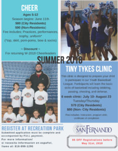 Summer 2018 CHEER and Tiny Tykes