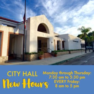 CITY HALL NEW HOURS: OPEN EVERY FRIDAY
