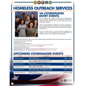 VA Greater Los Angeles Healthcare System Upcoming Coordinated Entry Events
