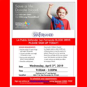 BLOOD DRIVE BENEFITING CHILDREN'S HOSPITAL LOS ANGELES