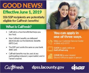 CALFRESH FOOD BENEFITS NOW AVAILABLE TO SENIORS AND PEOPLE WITH DISABILITIES IN LA COUNTY