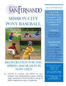 MISSION CITY PONY BASEBALL registration flyer