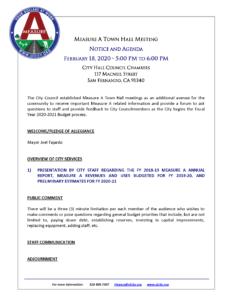 2-18-20 Town Hall Agenda