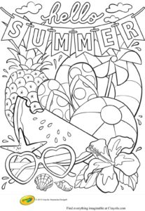 Hello-Summer Coloring Page