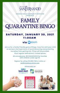 Family Quarantine Bingo