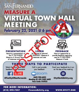 Measure A Town Hall Meeting (2-22-21) POSTPONED