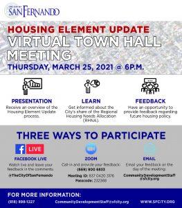Housing Element Update Virtual Town Hall Meeting (3-25-21)