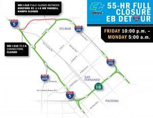 55-HOUR WEEKEND FULL CLOSURE OF I-210